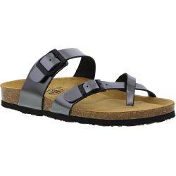 Plakton Womens Savannah Strappy Toe Post Sandals - Pewter