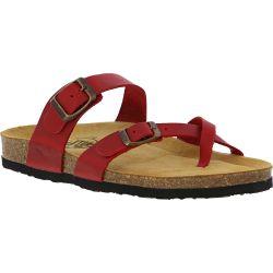 Plakton Womens Savannah Strappy Toe Post Sandals - Red