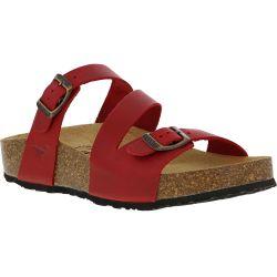 Plakton Womens Sevilla Mid Leather Slide Sandal - Red