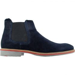Roamers Mens Suede Leather Chelsea Boots - Navy Blue