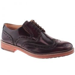Roamers Mens Leather Brogue Wing Capped Gibson Shoes - Oxblood