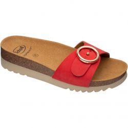 Scholl Womens Malibu Mule Adjustable Slide Sandals - Red