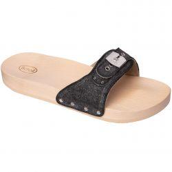 Scholl Womens Pescura Flat Wooden Slide Sandal - Black