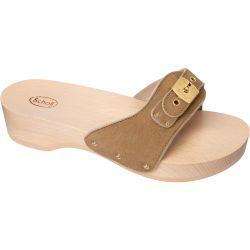 Scholl Womens Pescura Heel Wooden Slide Sandal - Brown