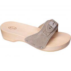 Scholl Womens Pescura Heel Wooden Slide Sandal - Grey
