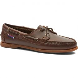 Sebago Womens Jacqueline Leather Deck Shoe - Dark Brown Gum