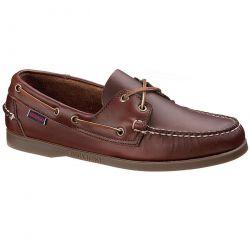 Sebago Mens Dockside Portland Leather Boat Deck Shoes - Brown Gum