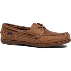 Sebago Mens Schooner Vintage Leather Boat Deck Shoes - Brown Tan