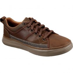 Skechers Mens Moreno Pence Leather Shoes Trainers - Brown