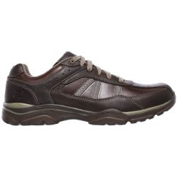 Skechers Mens Rovato Texon Extra Wide Fit Leather Lace Up Shoes - Chocolate