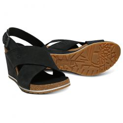 Timberland Womens Capri Sunset Cross Band Wedge Sandals - A1WN6 Black