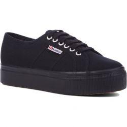 Superga Womens 2790 Linea Chunky Platform Trainers Shoes - Full Black