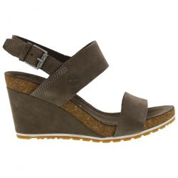 Timberland Womens Capri Sunset Leather Wedge Sandals - A1MSN Olive