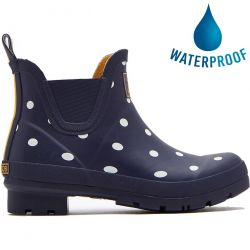 Joules Womens Wellibob Short Ankle Wellies Rain Boots - French Navy Spot