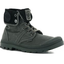 Palladium Mens Pallabrouse Baggy Canvas Combat Ankle Boots - Metal Black