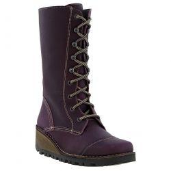 Oxygen Womens Tamar Mid Calf Wedge Boots - Purple