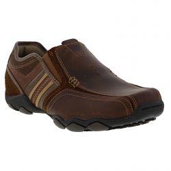 Skechers Mens Diameter Zinroy Leather Slip On Shoes - Dark Brown
