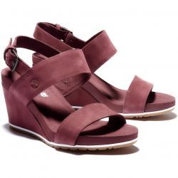 Timberland Womens Capri Sunset Leather Wedge Sandals - Burgandy Nubuck