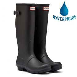 Hunter Womens Original Back Adjustable Wellies Rain Boots - Black