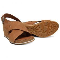 Timberland Womens Capri Sunset Cross Band Wedge Sandals - A1WMU Rust