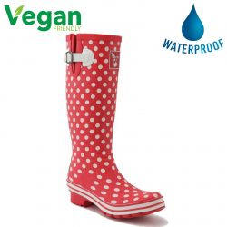 Evercreatures Womens Evergreen Vegan Wellies - Red Polka