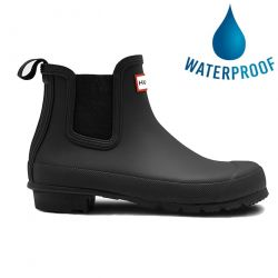Hunter Womens Original Chelsea Short Wellies Rain Boots - Black