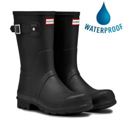 Hunter Mens Original Short Wellies Rain Boots - Black