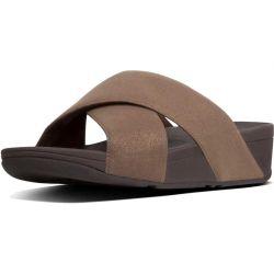 Fitflop Womens Lulu Shimmerlux Cross Slide Sandals - Bronze