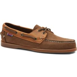 Sebago Mens Portland Rookies Leather Boat Deck Shoes - Dark Brown Tan Gum