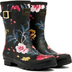 Joules Womens Molly Welly Short Wellies - Black Floral