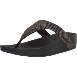 FitFlop Womens Lottie Glitter Stripe Toe Post Sandals - All Black