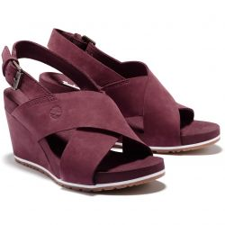 Timberland Womens Capri Sunset Cross Band Wedge Sandals - Burgandy