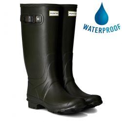 Hunter Womens Wellies Field Huntress Rain Boots - Dark Olive