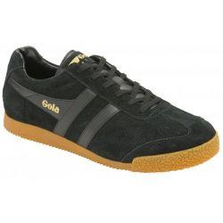 Gola Mens Harrier Classics Suede Trainers Shoes - Black Black Gum