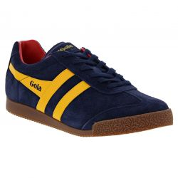 Gola Mens Harrier Classics Suede Trainers Shoes - Navy Sun Red