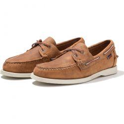 Sebago Mens Dockside Portland Leather Boat Deck Shoes - Brown Tan