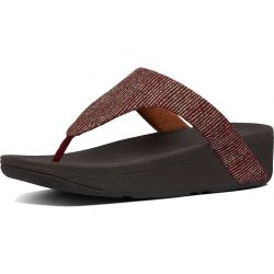 FitFlop Womens Lottie Glitter Stripe Toe Post Sandals - Maroon