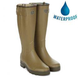 Le Chameau Mens Wellies Chasseur Jersey Zip Rain Boots - Vert Vierzon