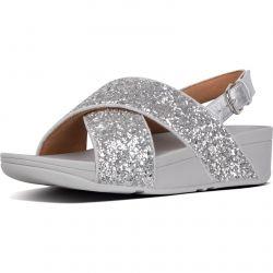 Fltflop Womens Lulu Glitter Back Strap Sandals - Silver