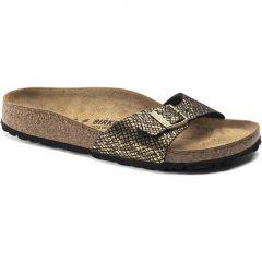 Birkenstock Womens Madrid Sandals - Shiny Python Black Gold