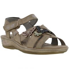 Mustang Womens 1240-801 Synthetic Leather Sandals - Taupe