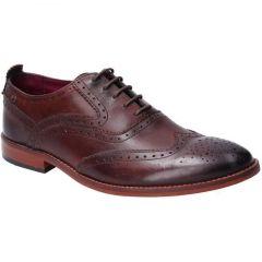 Base London Mens Focus Brogue Shoes - Washed Brown