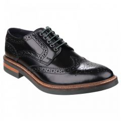 Base London Mens Woburn Brogue Shoe - Hi Shine Black