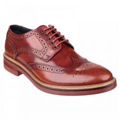 Base London Mens Woburn Brogue Shoe - Hi Shine Tan