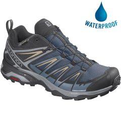 Salomon Mens X Ultra 3 GTX Waterproof Walking Trainers - Dark Denim Copen Blue Pale Khaki