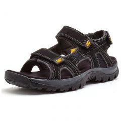 Cat Mens Giles Wide Fit Adjustable Leather Sports Walking Sandals - Black