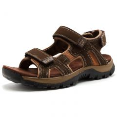 Cat Mens Giles Wide Fit Adjustable Leather Sports Walking Sandals - Brown