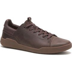 Caterpillar Mens Cat Hex Base Leather Trainers - Coffee Bean