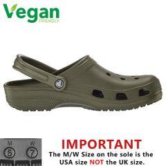 Crocs Mens Womens Classic Clog Vegan Work Shoes Sandals - Army Green