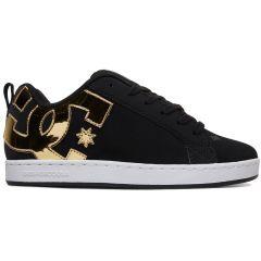 DC Womens Court Graffik Skate Shoes - Black Gold